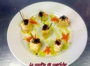 Crepês queso salmón salsa wasabi