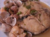 Rodajas pescada salsa albariño almejas malaga langostinos