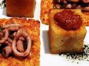 Salteado chipirón sobre mahonesa guindilla patatas bravas