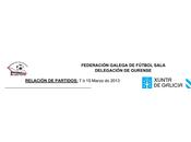 Horarios Fútbol Sala base ourense, Marzo