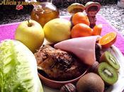 Ensalada frutas pollo asado