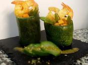 Calabacines rellenos verduras, langostinos reducción Módena.