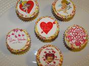 Cupcakes vainilla decorados papel azúcar para Valentín
