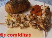 Patatas hasselback pinchitos pollo salsa huevo frito