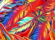 Coloridas plumas pintadas mano
