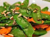 Ensalada tirabeques, zanahorias albahaca