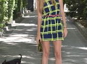 Fluor dress, mirror sunnies plastic clutch
