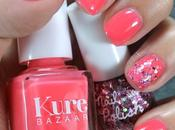 Uñas decoradas color coral purpurina Nail