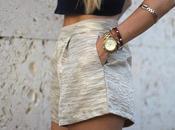 Golden highwaisted shorts