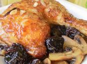 """Pollo estilo """"chicote"""" champiñones ciruelas pasas"""