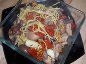 Espaguetis setas, tomates secos nueces