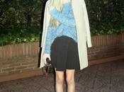 Camel coat black skirt