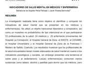 Indicadores salud mental médicos enfermeras Pérez Álvarez
