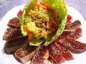 Flor atún tempura verduras