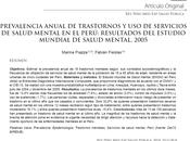 Prevalencia anual trastornos servicios salud mental Perú Piazza Fiestas