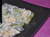 Judías verdes champiñones salsa yogur