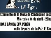 Reunión Movimiento Evita Paz, este miércoles abril Unidad Básica