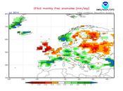 Previsión meteorológica julio agosto 2014 según NOAA