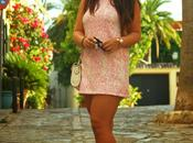Pink dress, purple shoes...