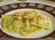 Pasta fresca: Raviolis rellenos espinacas crème fraîche gambas ajillo
