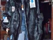 Rihanna, vaqueros patchwork abrigo pelo pegatinas