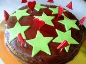 Bizcocho Chocolate Estrellas. Palillos Decorados Goma