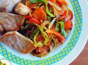 Lomo cerdo verduras salsa soja (Dukan,