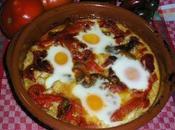 Cazuela bacalao pimientos huevos