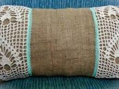 Almohadón arpillera crochet