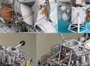 Maqueta papel vehículo alunizaje Apolo Acuario