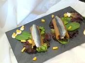 Ensalada canelones nectarina sardinas marinadas versionando Yayo Daporta