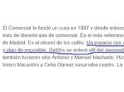 Café Comercial, Prim, Galdós aclaración
