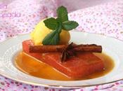Sandía flambeada salsa naranja sorbete mandarina