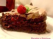 Pastel brownie frambuesa merengue chocolate