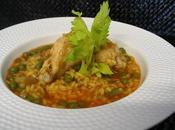 Arroz caldoso pollo alcachofas