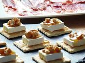 Crackers queso brie, nueces miel