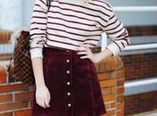 Burgundy skirt.