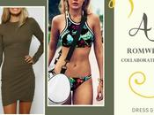Vestido verde militar bikini deportivo flores Romwe