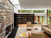 Piedra, Madera Luz, Casa Moderna Connecticut