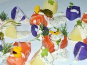 Ensalada patatas colores salmón marinado