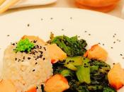 choi vapor, arroz cangrejo aceite oliva