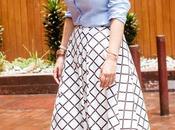Looks falda Midi cuadritos