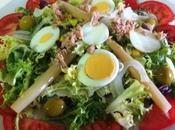 Ensalada espárragos, huevo mostaza