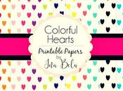 Colorful Hearts Printable Papers Pack Paquete Papeles Imprimibles Corazones Coloridos.