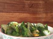 Berberechos tallarines calabacin pesto espinacas