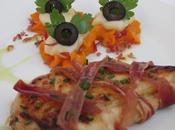 Solomillos pollo macerados ,con purés verduras jamón