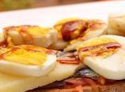 Tosta anchoas, queso, huevos reducción vinagre Pedro Ximenez
