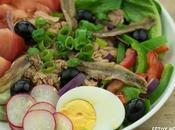 Receta ensalada nizarda (salade niçoise). Cocina francesa.
