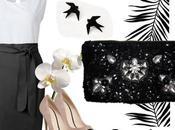Vestido piezas blanco negro bolso fiesta lentejuelas