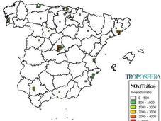 España: Mapa emisiones Tráfico (Inventario EMEP 2013)